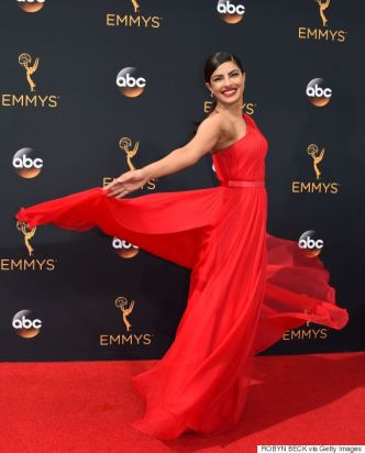 Actress Priyanka Chopra arrives for the 68th Emmy Awards on September 18, 2016 at the Microsoft Theatre in Los Angeles. / AFP / Robyn Beck (Photo credit should read ROBYN BECK/AFP/Getty Images)